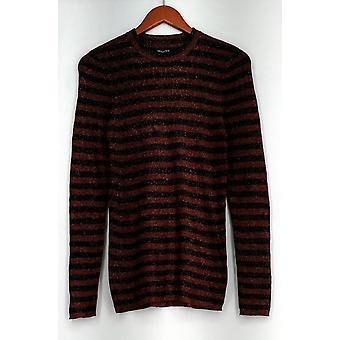 WhoWhatWear Long Sleeve Stretch Knit Striped Sweater Orange Womens