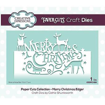 Creatieve uitdrukkingen sterven Merry Christmas feestelijke formulering Edgers | Papier snijdt collectie