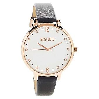 Missguided | Ladies | Black Leather Rose Gold Case | MG010BRG Watch