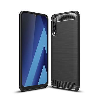 Samsung Galaxy A50s TPU Case Carbon Fiber Optics geborsteld beschermende case zwart