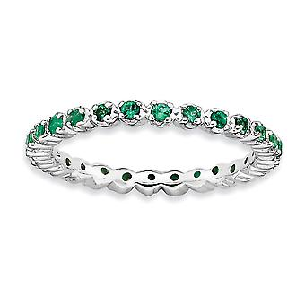 925 sterling sølv polert prong sett mønstret rhodium belagt stables uttrykk opprettet smaragd ring smykker gaver