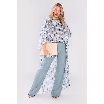 Jabador eloise co-ord high low hemline cropped sleeve top and trousers set in sky