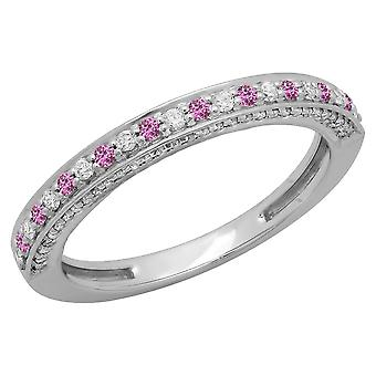 Dazzlingrock Collection 14K Round Pink Sapphire et White Diamond Ladies Anniversary Stackable Wedding Band, White Gold