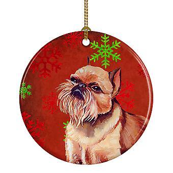 Grifón de Bruselas copo de nieve rojo vacaciones Navidad adorno cerámica LH9314