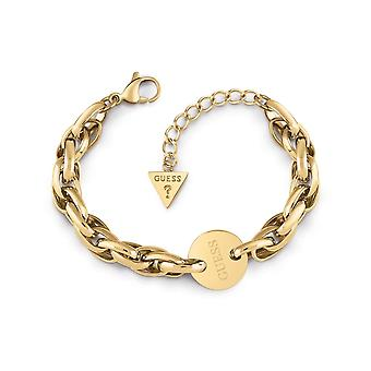 Guess Jewellery Oval Chain Coin Logo Gold Bracelet UBB29032-L