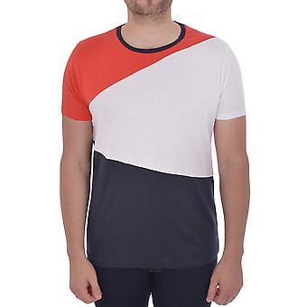 Brave Soul mens Alfio Kortärmad casual Crew Neck T-shirt tee-Marinblå/vit/röd