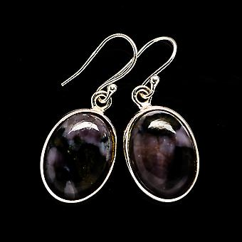 "Gabbro Stone Earrings 1 1/4"" (925 Sterling Silver)  - Handmade Boho Vintage Jewelry EARR392681"