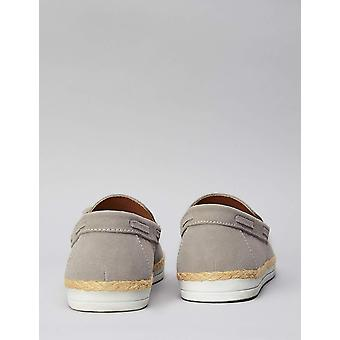 Amazon Brand - find. Men's Leather Espadrilles Grey), US 12