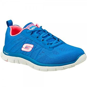 Skechers Flex Appeal Sweet Spot Ladies Gym Trainers Blue/hot Pink