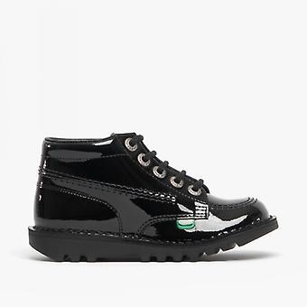 Kickers Kick Hi Kids Patent Leather Boots Black