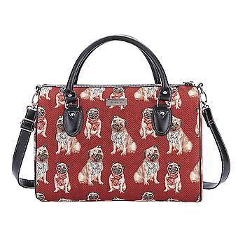 Pug overnight travel bag by signare tapestry / trav-pug