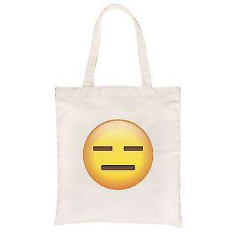Emoji-Emotionless Natural Canvas Shoulder Bag Simple Basic Gag Gift