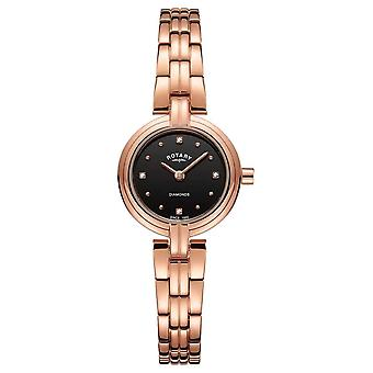 Rotary LB00414-15 Women's Diamonds Black Dial Wristwatch