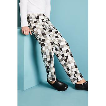 SIMON JERSEY Unisex Drawstring Chef's Trousers, Black And White Multi Check