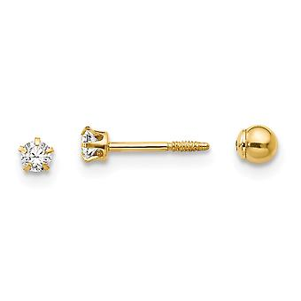 14k Yellow Gold Hollow Prong set Screw back Post Earrings Polished Reversible CZ Cubic Zirconia Simulated Diamond and 3m