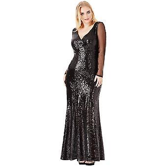 Goddiva Long Sleeved Sequin Chiffon Maxi Dress