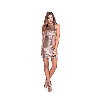 Goddiva Nude Sleeveless Sequin Mini Dress