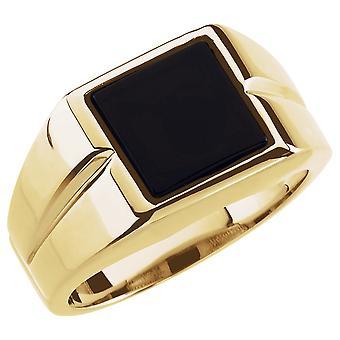 14k צהוב זהב 10x10mm מלוטש Mens מדומה טבעת אוניקס גודל 11 תכשיטים מתנות לגברים
