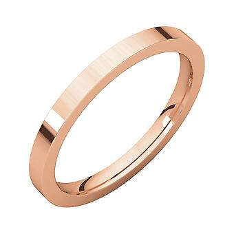 14k Rosa Oro 2mm Flat Comfort Fit Band Anello Gioielli Regali per le Donne - Dimensione anello: 4 a 11