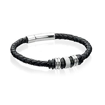 Fred Bennett Stainless Steel & Ip Bead W/ Black Leather Bracelet