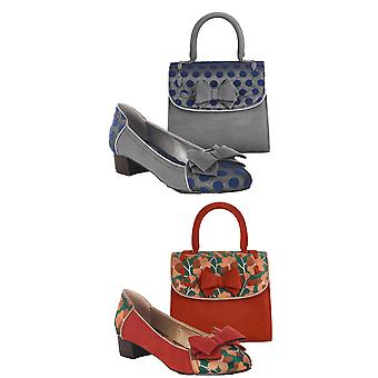 Ruby Shoo Women's Aurora Feature Bow Flat Shoes & Matching Baltimore Bag