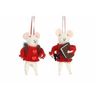 Gisela Graham White Mice in Red Jumper Decorations