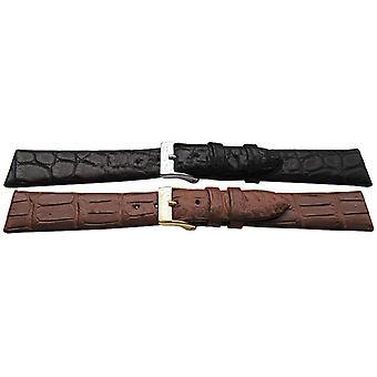 Genuine alligator watch strap handmade flat profile matt