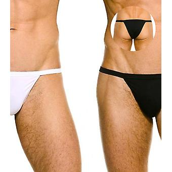 Kelly 1/2 back tanga black & white stretch cotton pack of 2