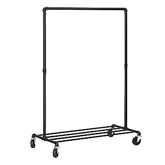 Metal clothing rack with 1 rod, grille and wheels - black