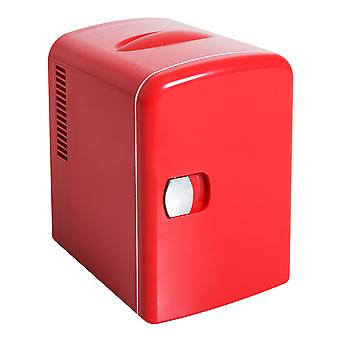 HOMCOM Mini Fridge Electric Cooler Warmer Vehicle Thermoelectric AC DC 220V 6 Can 4L Red