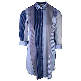 Just White Three Quarter Sleeve Blue Striped Boyfriend Shirt