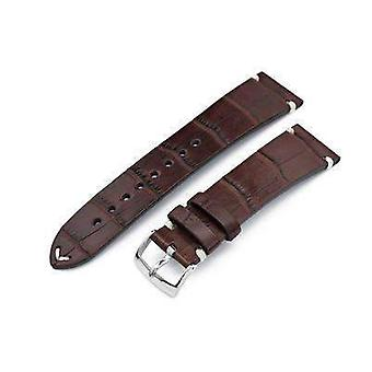 Strapcode alligator watch strap 20mm, 21mm or 22mm miltat genuine american alligator square scale, semi matte dark brown watch strap