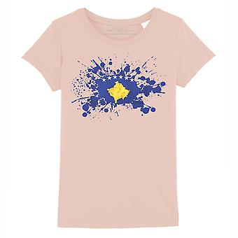 STUFF4 Girl's Round Neck T-Shirt/Kosovo Flag Splat/Coral Pink