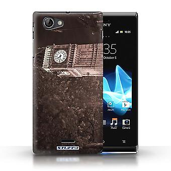 STUFF4 Case/Cover for Sony Xperia J (ST26i)/Big Ben Sepia/London England