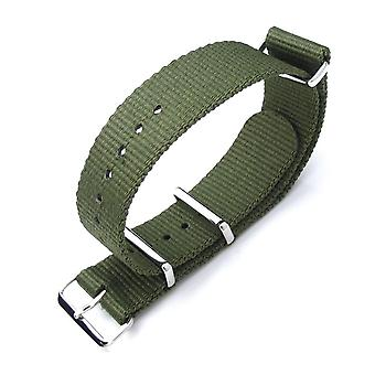 Strapcode n.a.t.o watch strap miltat 21mm g10 nato military watch strap ballistic nylon armband, polished - forest green
