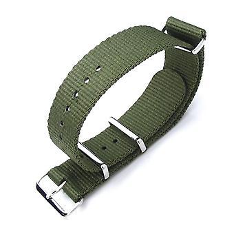 Strapcode n.a.t.o klokke stropp miltat 21mm g10 nato militære klokke stropp ballistisk nylon armbånd, polert - skog grønn