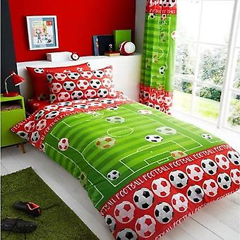 Football Goal Childrens Single Duvet Cover Red