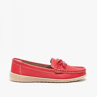 Amblers Elba Ladies Loafers Red