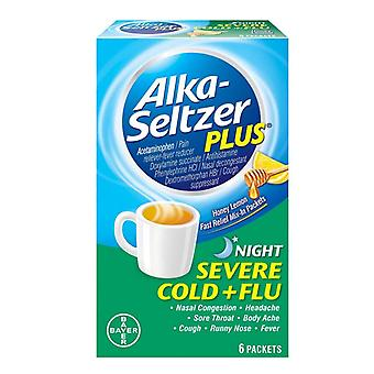 Alka-seltzer plus night severe cold + flu, mix-in, honey lemon, 6 ea