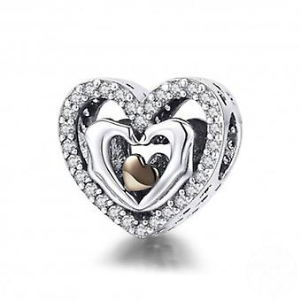 Sterling Silver Charm Heart With Fingers - 5814