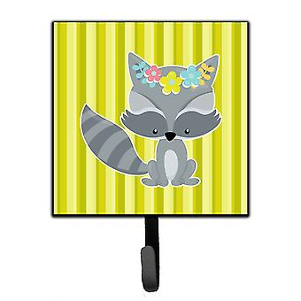 Carolines Treasures  BB7095SH4 Raccoon with Flowers Leash or Key Holder