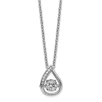 8.72mm Cheryl M 925 Sterling Silver Moving Brilliant cut CZ Center Teardrop Necklace 18 Inch Jewelry Gifts for Women