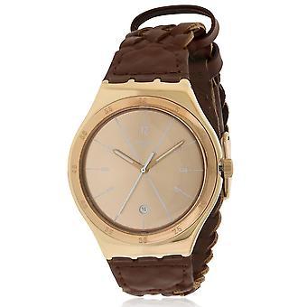 Swatch YWG402  Unisex Brown Leather 42MM Quartz Analog Watch