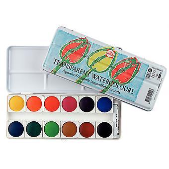Talens Transparent Watercolour Paint Tin Set (12 Pans, 1 Tube)