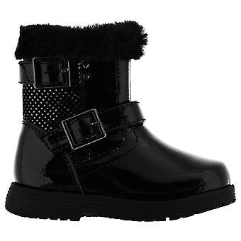 Miso Girls Infants Faith Leather Zip Fastening Warm Biker Boots Winter Shoes