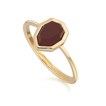Irregular B Gem Red Jasper Ring in Gold Plated Sterling Silver 271R025404925