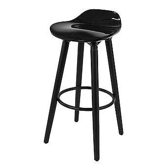 SoBuy FST34-HEI, Bar Stool Kitchen Breakfast Barstool con ABS Plastic Seat & Beech Wood Legs, Nero
