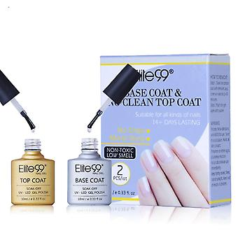 2 Pieces/lot Base Coat And  No Clean Top Coat Uv Gel Varnish With Gift Box Soak Off Top Base Nail Primer Foundation