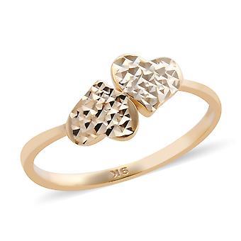 Royal Bali Handgemaakte 9ct Yellow Gold Heart Ring voor vrouwen