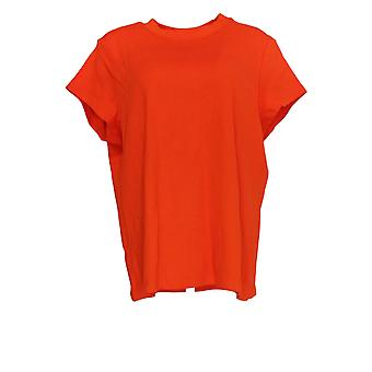 Isaac Mizrahi Live! Women's Top Essentials Crew Neck Knit Top Red A375737
